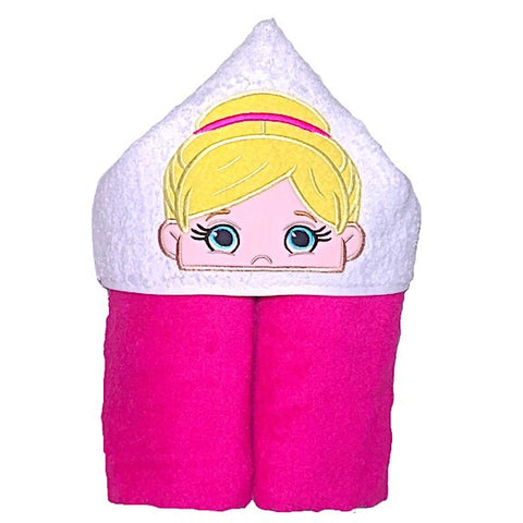 Pink towel with white hood with blond haired ballerina applique
