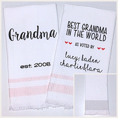 Grandma 2-pack of Tea Towels in Grey Stripe