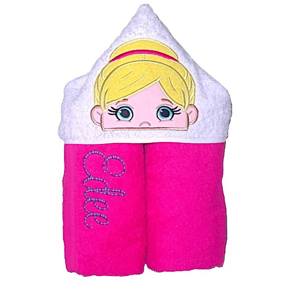 Pink towel with white hood with blond haired ballerina applique and name embroidered in purple
