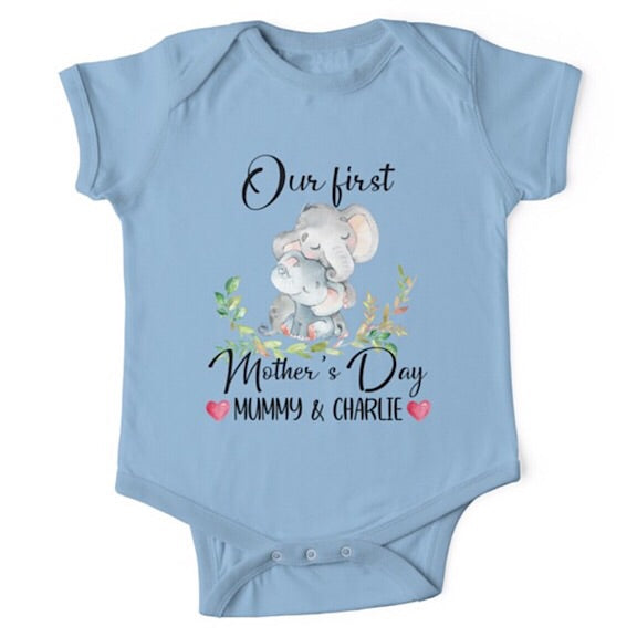 Personalised Elephant First Mother's Day Onesie