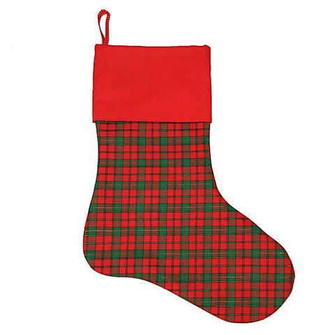 Red and Green Tartan Christmas Stocking