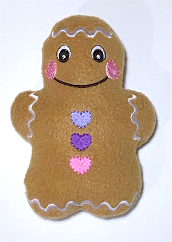 Gingerbread Man Stocking Stuffer (purple buttons)