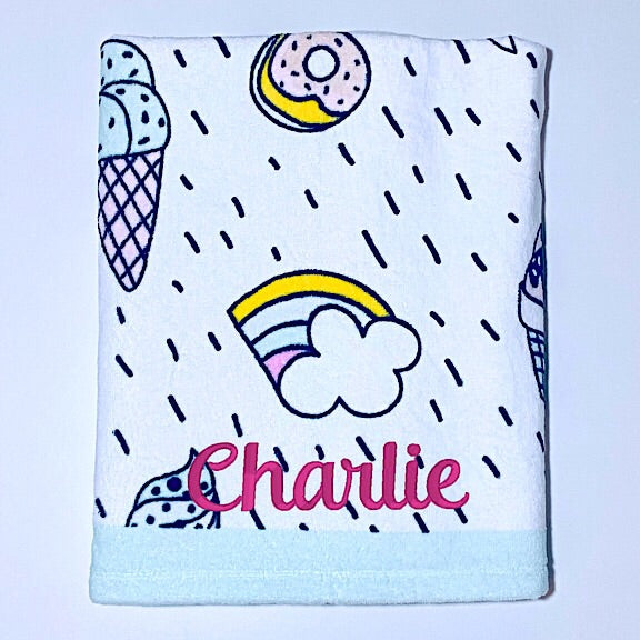 Unicorns, Rainbows, Ice Creams and Donuts Beach Towel
