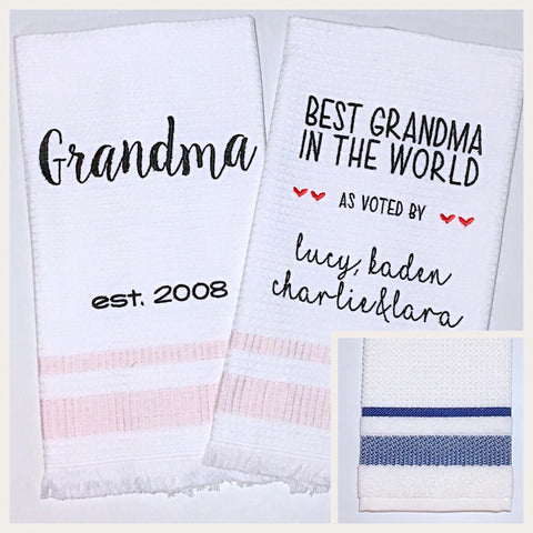 Grandma 2-pack of Tea Towels in Navy Diamond Stripe