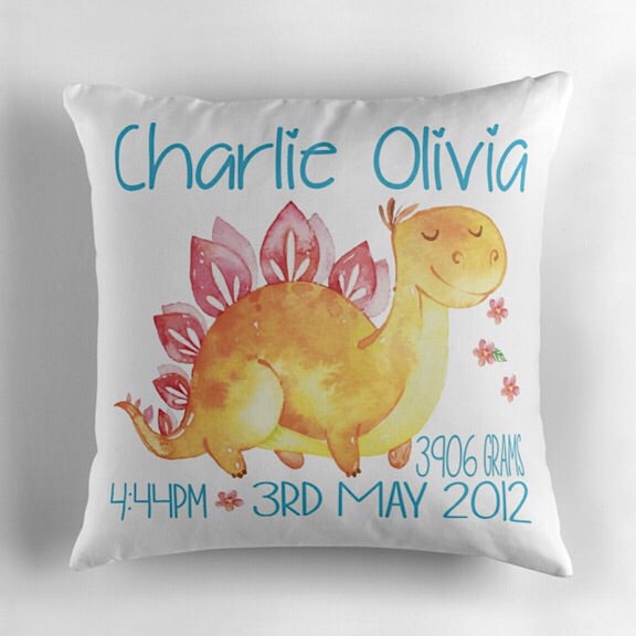 Stegosaurus Birth Announcement Cushion