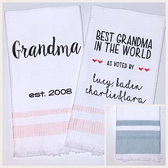 Grandma 2-pack of Tea Towels with Aqua Edge