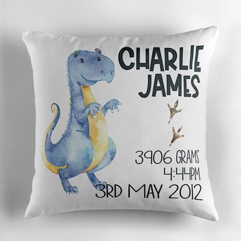 Trex Birth Announcement Cushion