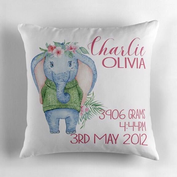 Girl Elephant Birth Announcement Cushion
