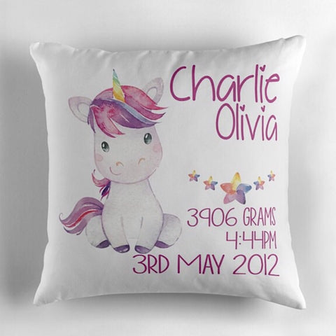 Rainbow Unicorn Birth Announcement Cushion
