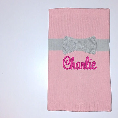 Pink Bow Knit Blanket