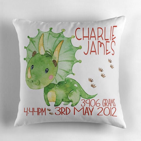 Triceratops Birth Announcement Cushion