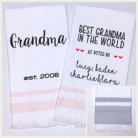 Grandma 2-pack of Tea Towels with Grey Edge