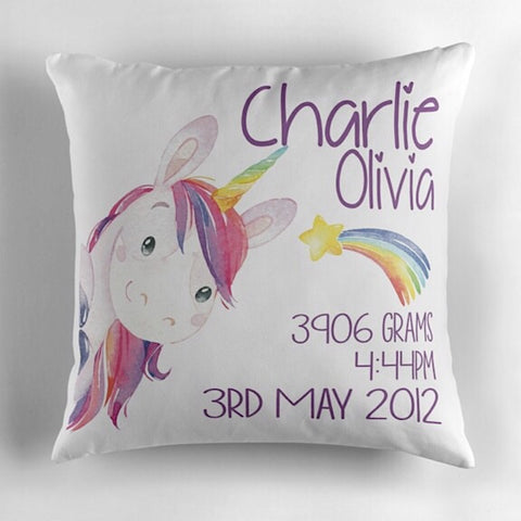 Peeking Unicorn Birth Announcement Cushion