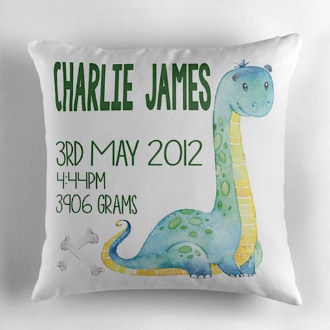 Brachiosaurus Birth Announcement Cushion