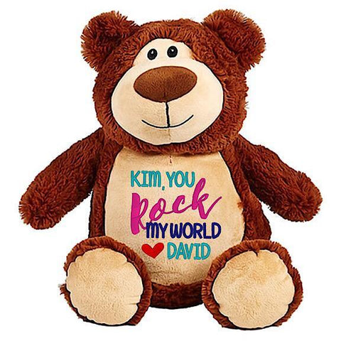 Brown bear plushie teddy with embroidered personalised you rock my world message for Valentines Day