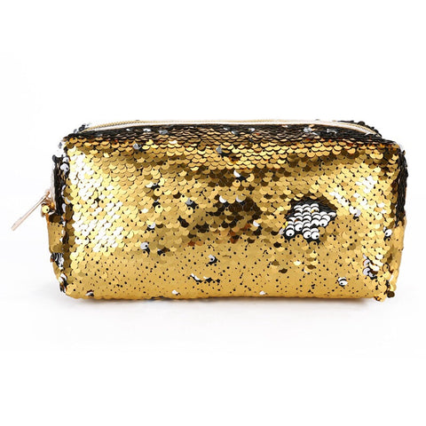 Gold Sequin Cosmetic Bag