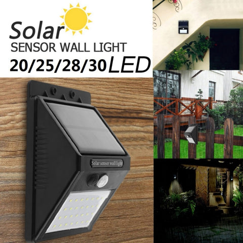 20/25/28/30 LEDs Solar Power LED Light PIR Motion Sensor Wall Lights Energy Saving Waterproof Outdoor Garden Street Security Lamp - 2 lamps/ pack