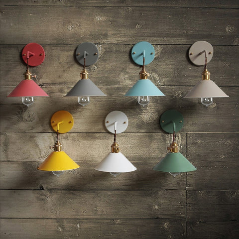 Minimal Scandinavian Industrial Style Wall Sconce, Matte Finish With On/Off Rotary Switch - 7 Beautiful Colors