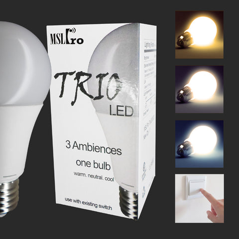 3 Pc/ 6Pc Pack Trio 10W LED Mood Light Bulb, E26/E27 Change Ambience Color (Cozy Warm, Soft White, Energizing White)