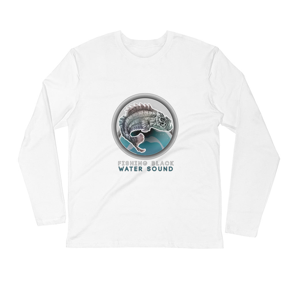 Fishing Black Water Sound Long Sleeve Fitted Crew
