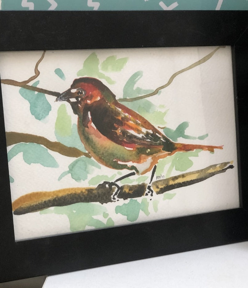 MARKART - BIRD ON BRANCH IN BLACK FRAME