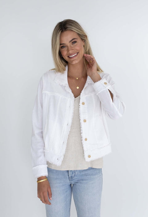 HUMIDITY ISABELLA LINEN JACKET WHITE L