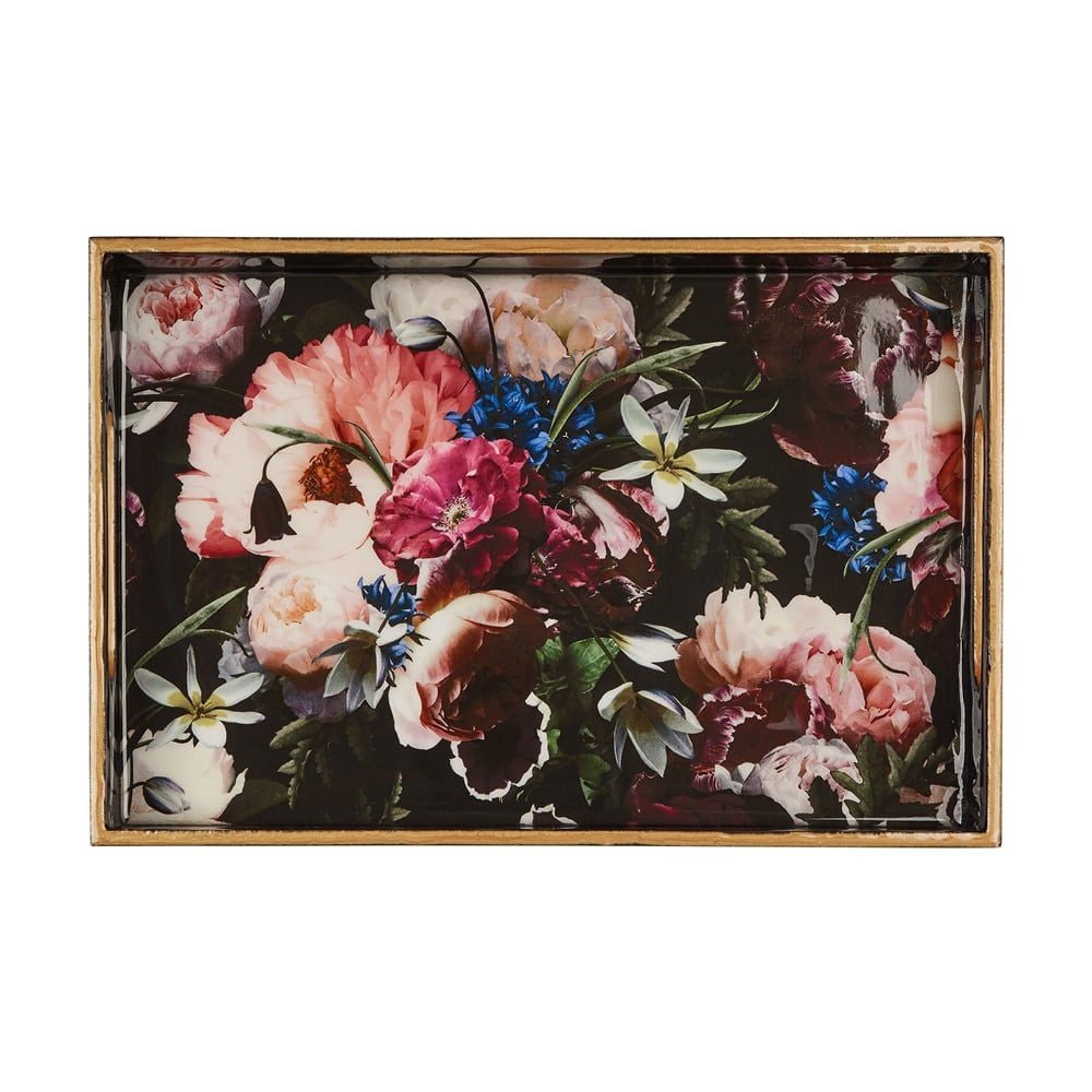 SANCTUARY STUDIO LACQUERED WOODEN TRAY - BLUEBERRY FLORAL 46X30X3.6