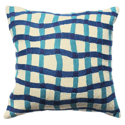 ELIZA PIRO CUSHION QUIRKY BLUE GINGHAM 45CM