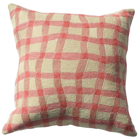 ELIZA PIRO CUSHION QUIRKY PINK GINGHAM 45CM