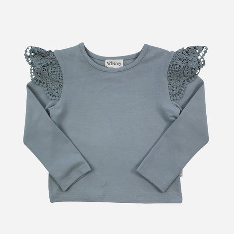 LOVE HENRY W21 GIRLS LACE SLEEVE TOP