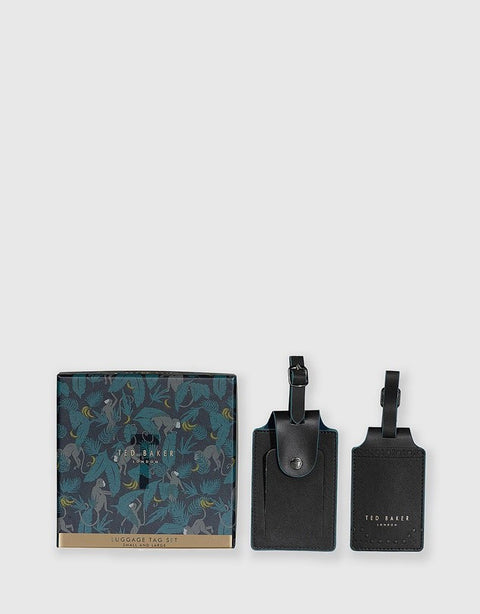 TED BAKER LUGGAGE TAG SET - BLACK BROGUE