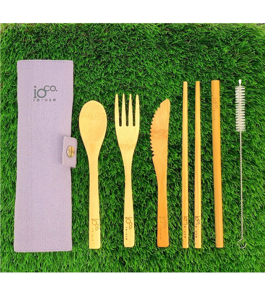 IOCO BAMBOO CUTLERY WRAP SET - GREY
