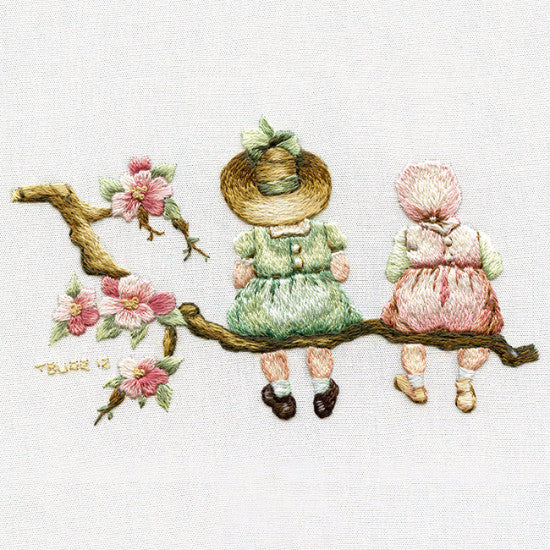 Victorian children on branch