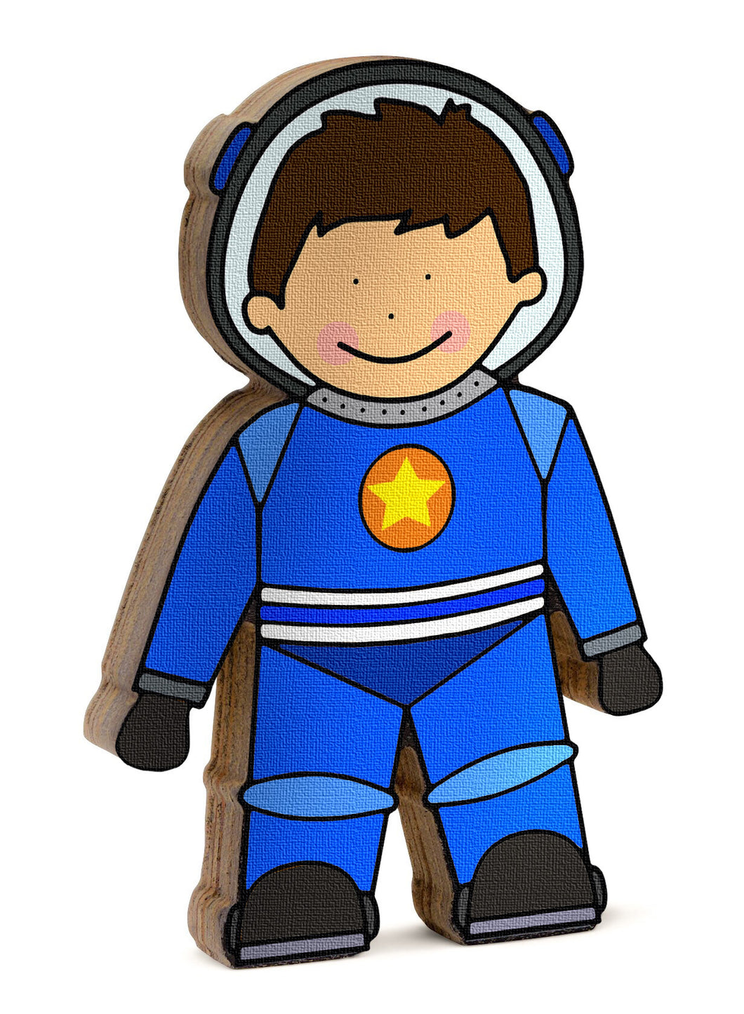 Astronaut wooden shelfie dressed in his blue space suit