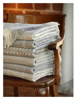 A beautifully woven wool blanket throw in a classic grey spot design-blankets-Storklings-Storklings