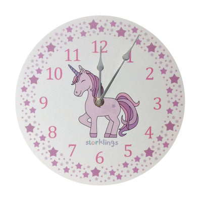 Pink Unicorn Star 'teach the time' Wall Clock