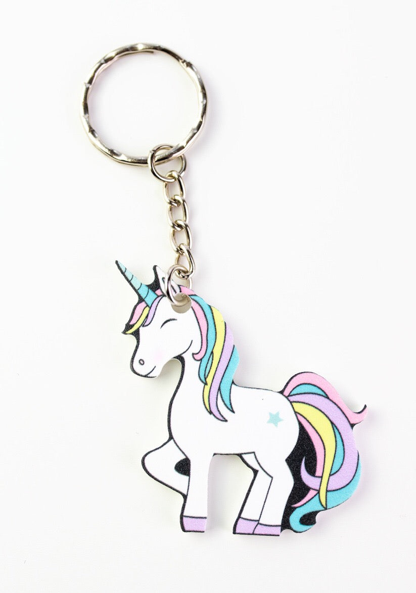 Rainbow unicorn keyring