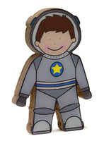 Astronaut wooden shelfie dressed in his grey space suit-Wooden shelfies-Storklings-Storklings