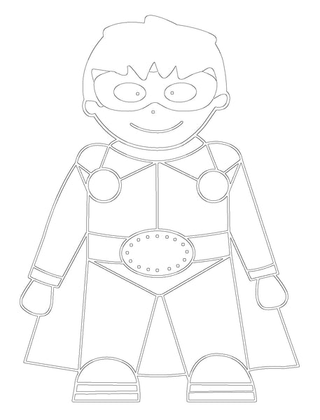 Free Superhero Printable Colouring In Picture-Storklings-Storklings