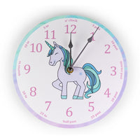 Turquoise Unicorn 'teach the time' Clock-Clocks-Storklings-Storklings