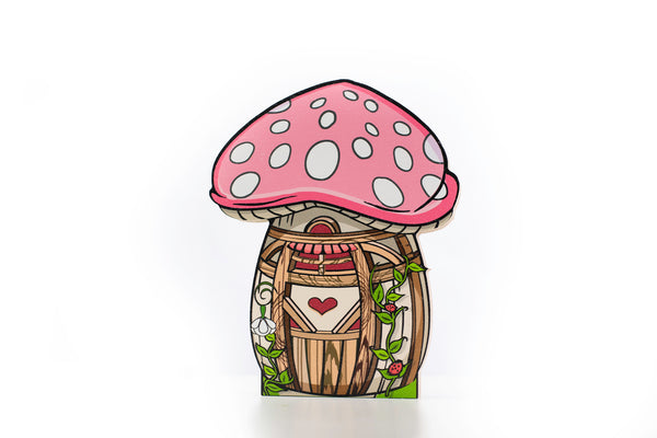 Toadstool Fairy House Shelfie-Wooden shelfies-Storklings-Storklings