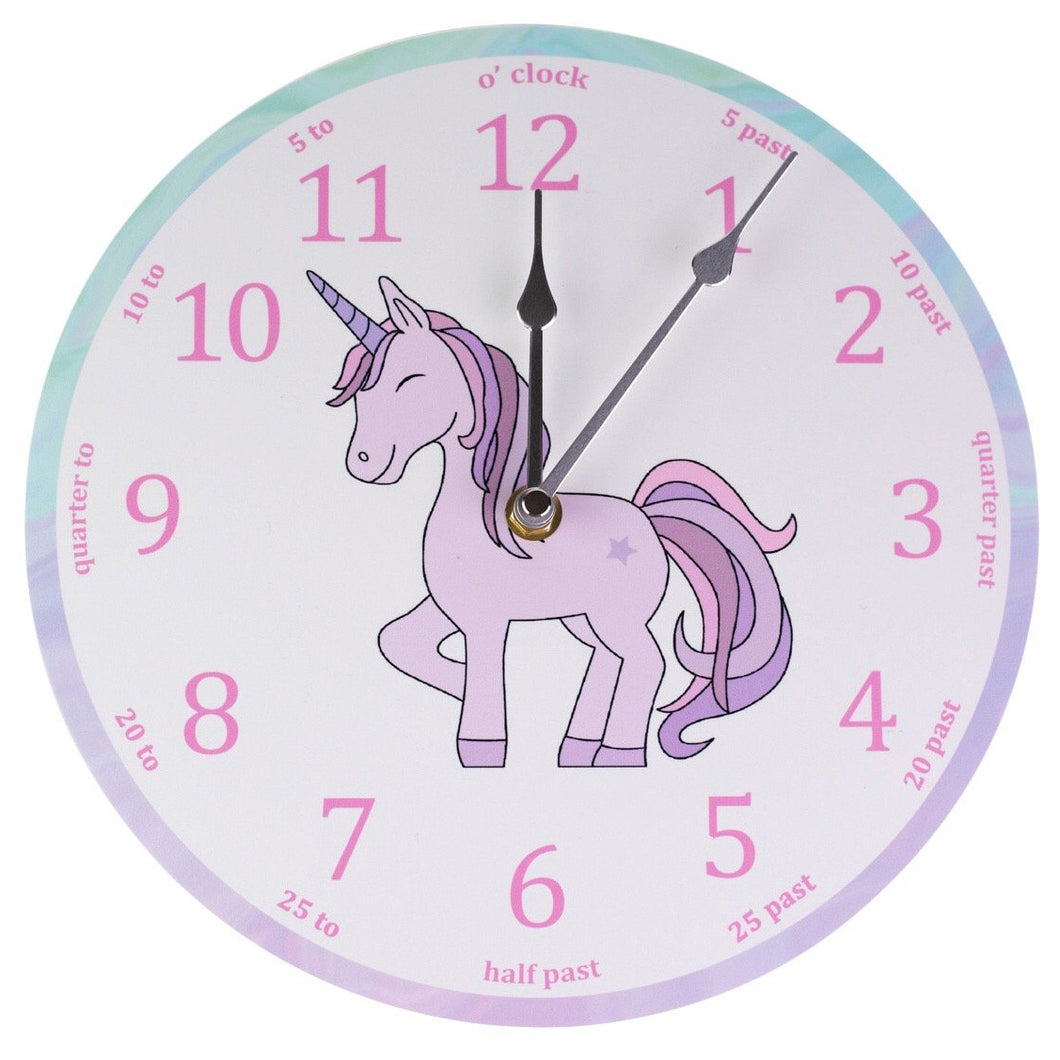 Pink Unicorn Clock