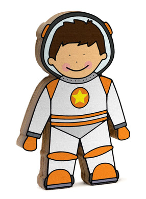 Astronaut wooden shelfie dressed in her orange and white space suit