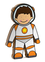 Astronaut wooden shelfie dressed in her orange and white space suit-Wooden shelfies-Storklings-Storklings