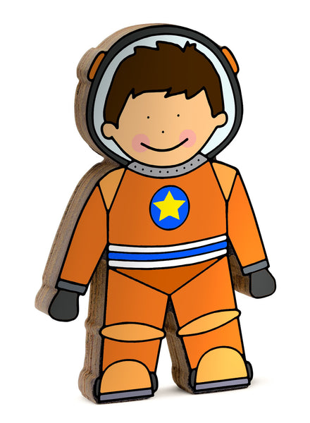 Astronaut shelfie dressed in his orange space suit-Wooden shelfies-Storklings-Storklings