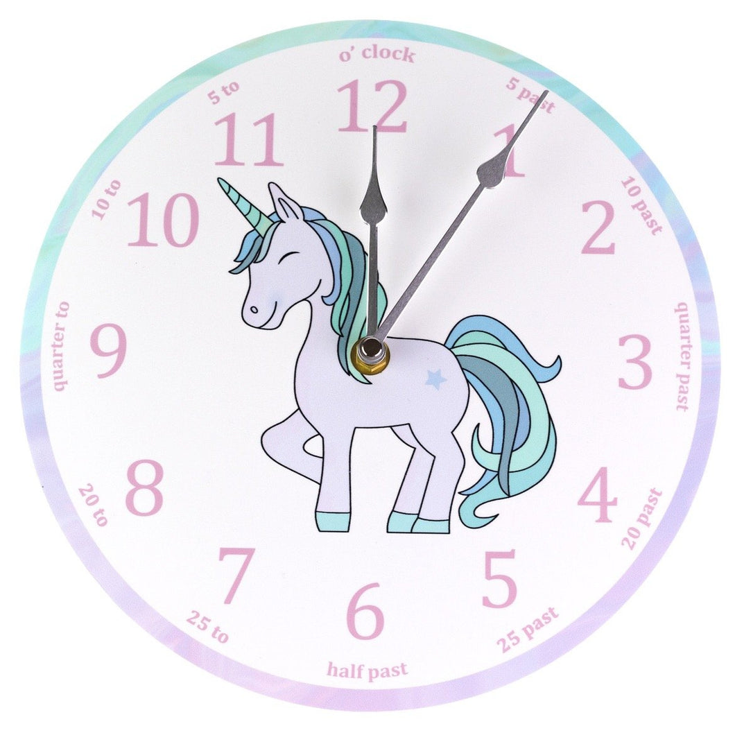 Turquoise Unicorn 'teach the time' Clock