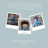 Astronaut Command Chief Pax Pemberton dressed in his blue spacesuit