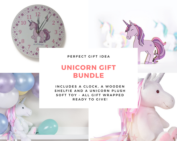 Unicorn plush soft toy, unicorn clock and unicorn wooden shelfie decoration gift bundle-Storklings-Storklings