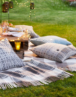 A beautifully woven wool blanket throw in duck egg herringbone design-blankets-Storklings-Storklings