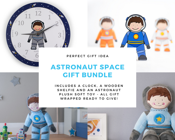 Astronaut plush soft toy, space themed clock and spaceman wooden shelfie gift bundle-Storklings-Storklings